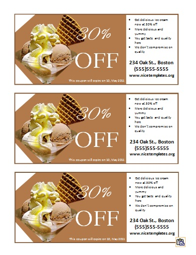 Sample Ice Cream Coupon Template