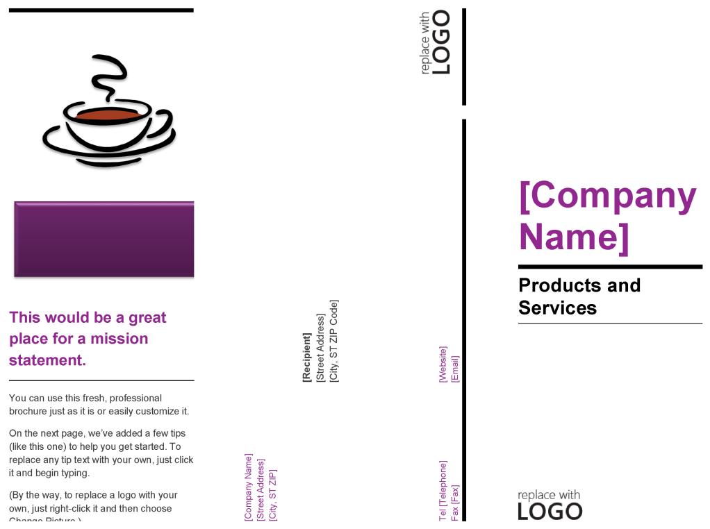 Sample Cafe Pamphlet Template