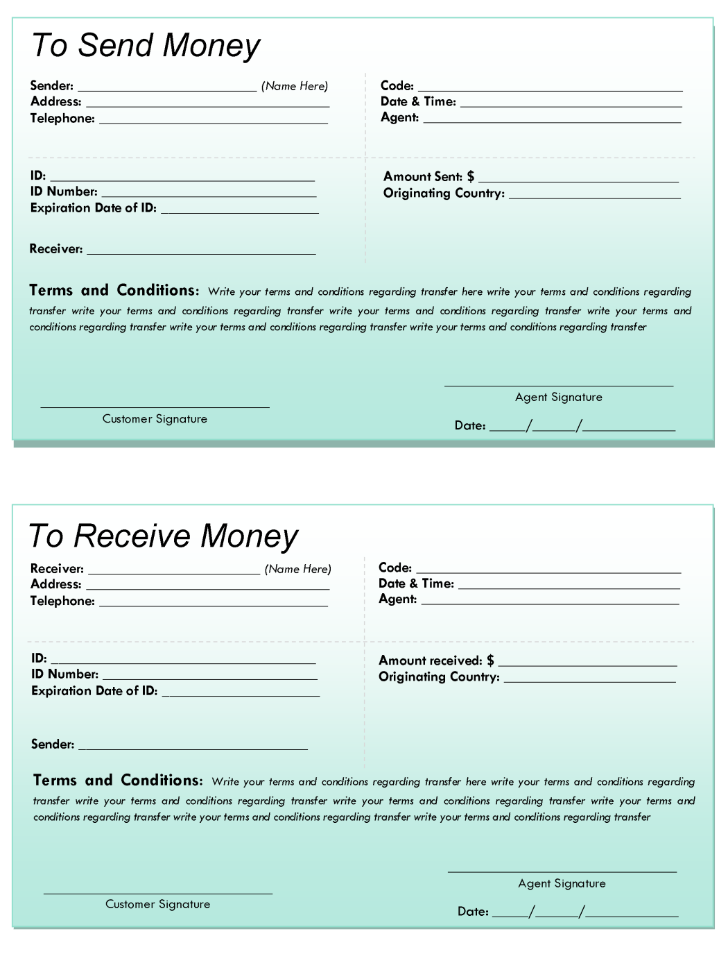 Sample Foreign Remittance Template
