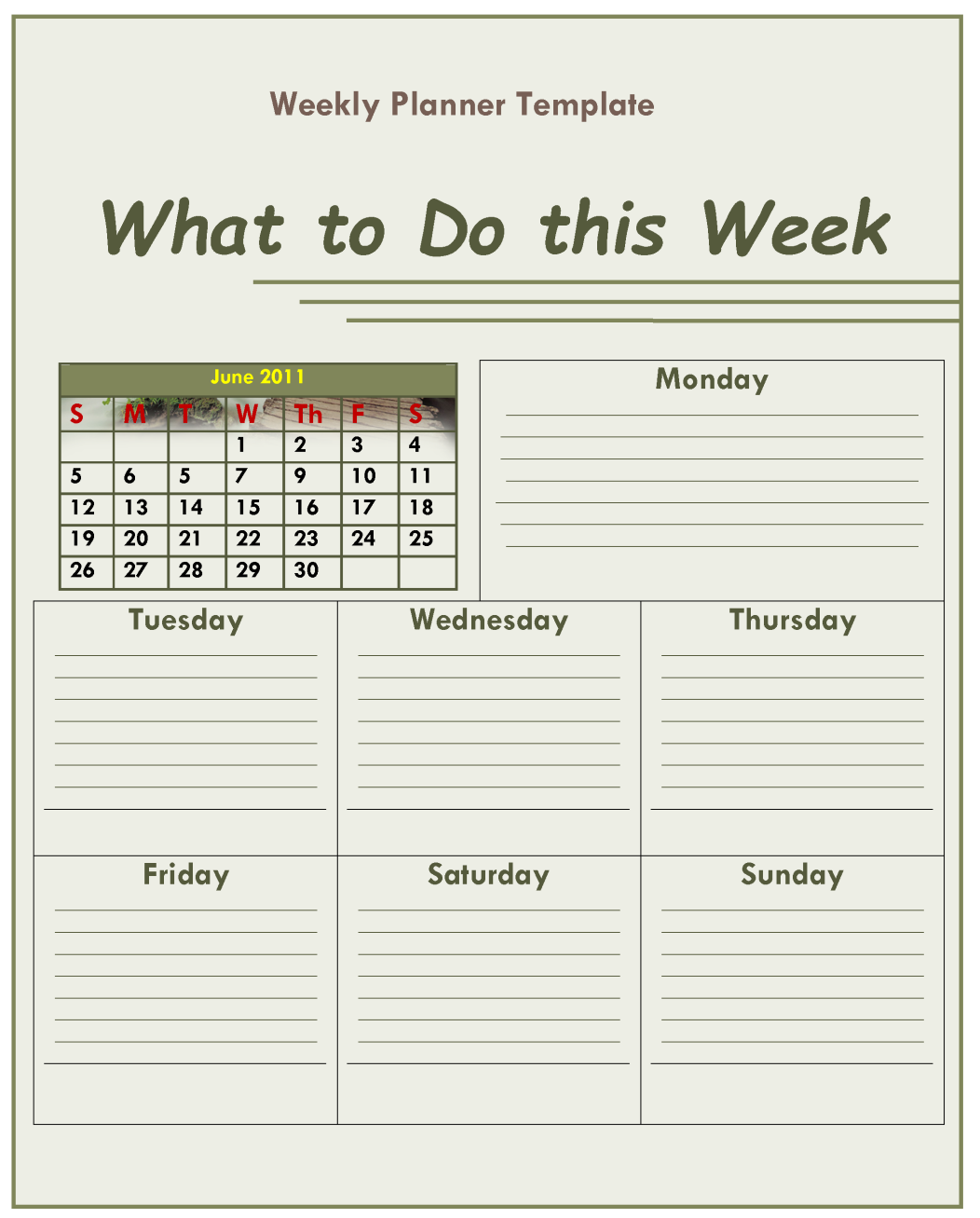 Sample To Do Weekly Planner Template