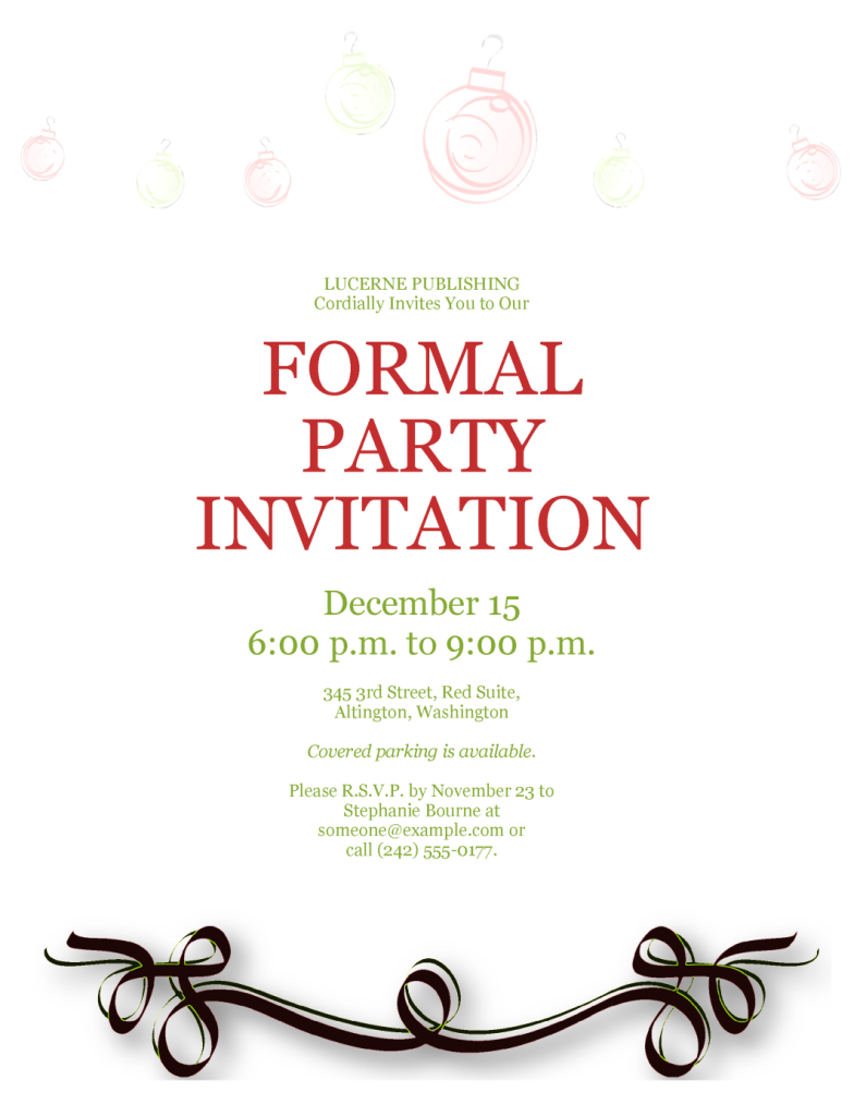 formal party invitation template. Black Bedroom Furniture Sets. Home Design Ideas